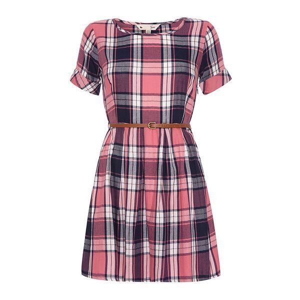 Dámské růžově kostkované šaty Yumi