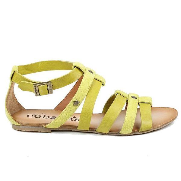 Dámské světle zelené páskové boty z kůže Cubanas Shoes
