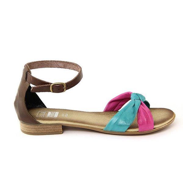 Dámské kožené hnědo-modro-růžové sandálky s ozdobným uzlíkem Julie Julie