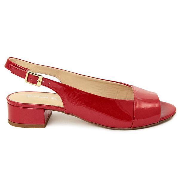 Dámské červené kožené sandálky s podpatkem Giorgio Picino