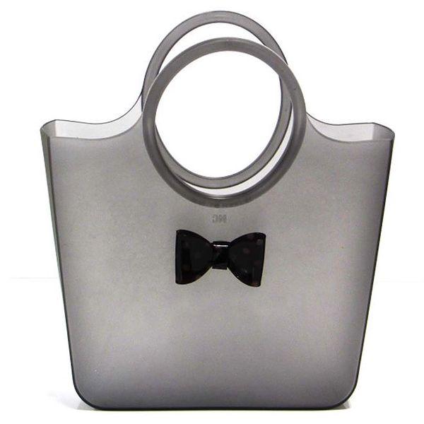 Dámská kouřová taška s puntíkatou černou mašličkou Favolla