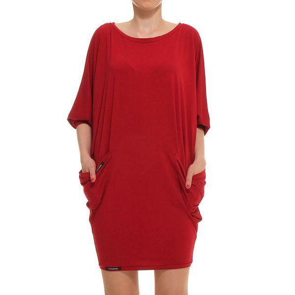 Dámské červené oversized šaty s kapsami Yuliya Babich
