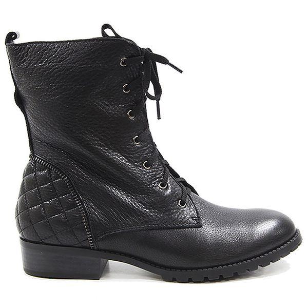 Dámské černé boty s prošívanou patou a šněrováním Drastik
