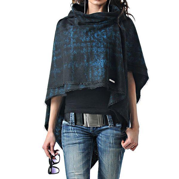 Dámské modro-černé kašmírové pončo Female Fashion
