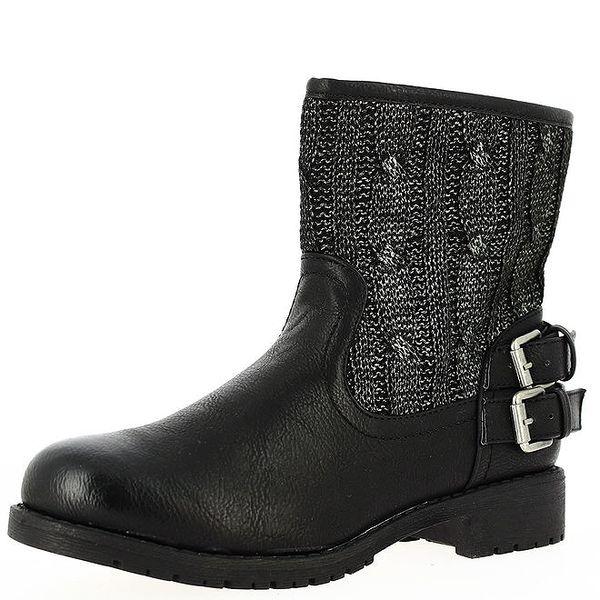 Dámské černé nízké kozačky s úpletem Shoes and the City