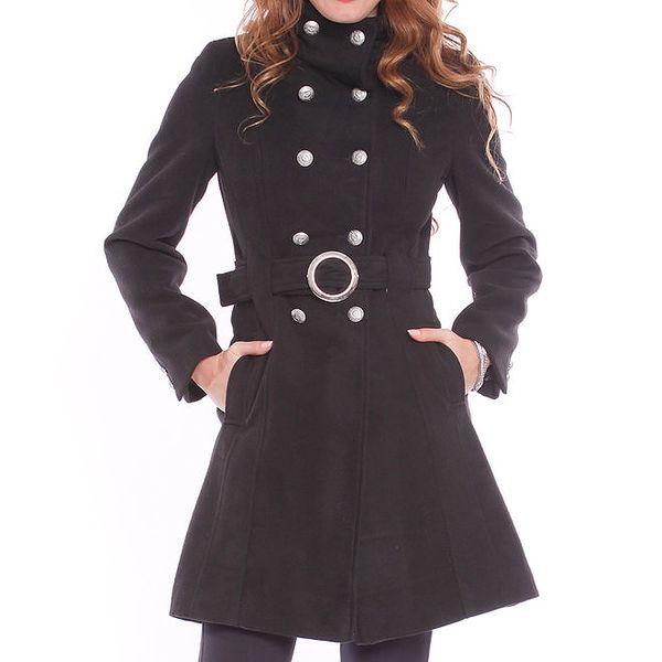 Dámský černý kabát se sponou Vera Ravenna