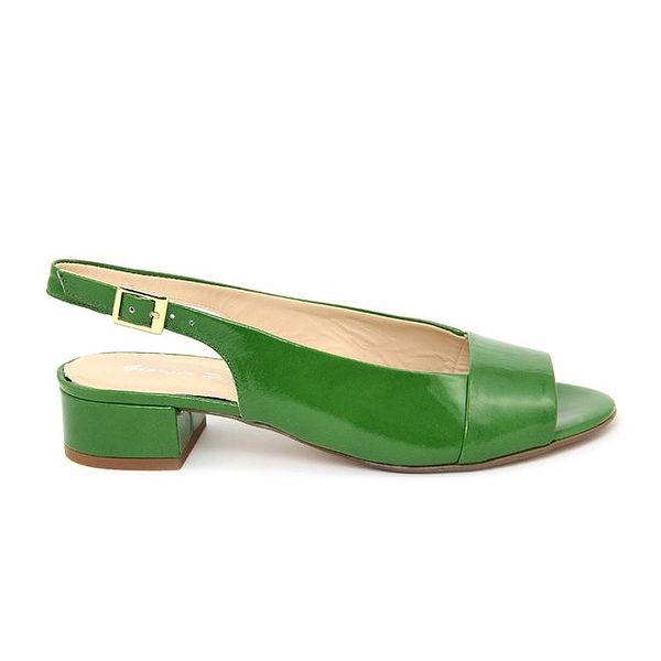 Dámské zelené kožené sandálky s podpatkem Giorgio Picino