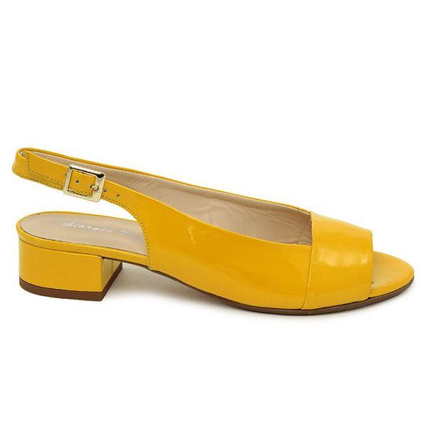 Dámské kanárkově žluté kožené sandálky s podpatkem Giorgio Picino