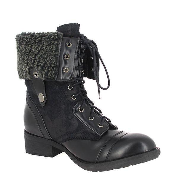 Dámské černé šněrovací boty s kožíškem Shoes and the City