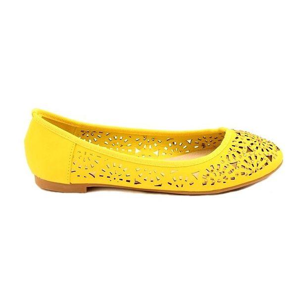 Dámské žluté perforované balerínky Bless