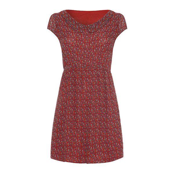Dámské červené šaty se vzorem a límečkem Iska