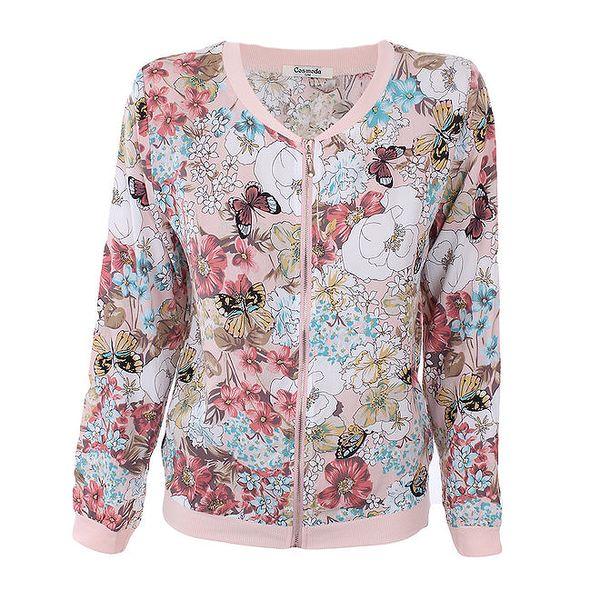 Dámská růžová květovaná bundička Cosmoda