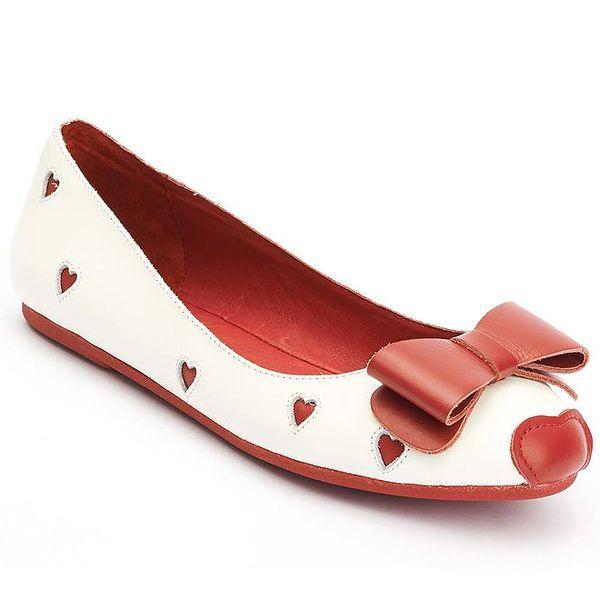 Dámské bílo-červené balerínky s mašlí Lola Ramona