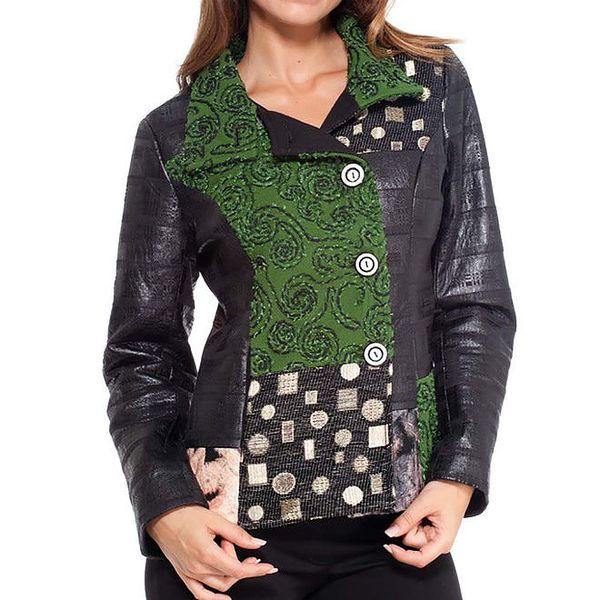 Dámský černo-zelený krátký kabátek Peace&Love