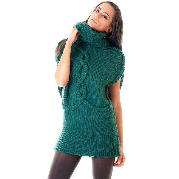 Dámský zelený svetr s rolákovým límcem