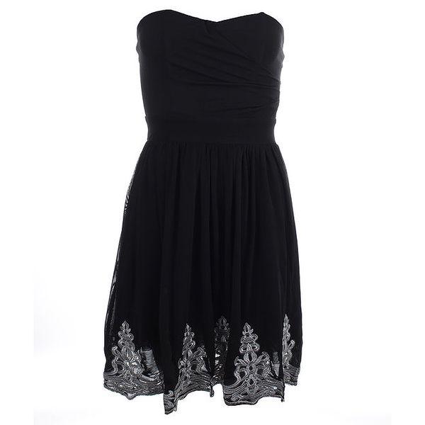 Dámské černé šaty bez rukávů s výšivkou Iska