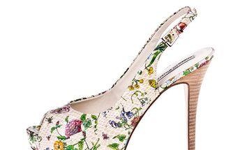 Dámské béžové lodičky s květinovým potiskem Roberto Botella