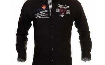Pánská černá košile s nášivkou na hrudi Pontto