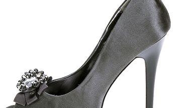 Dámské šedé lesklé lodičky s květinovou ozdobou 1to3