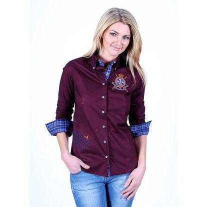 Dámská vínová jachtařská košile s nášivkami Pontto