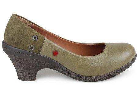 Dámské khaki lodičky na podpatku Cubanas Shoes