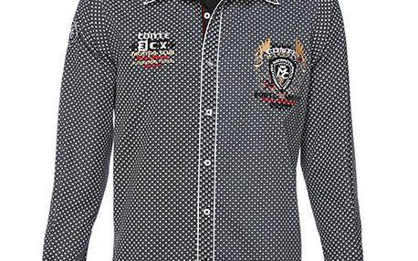 Pánská černo-bílá košile s drobným potiskem M. Conte