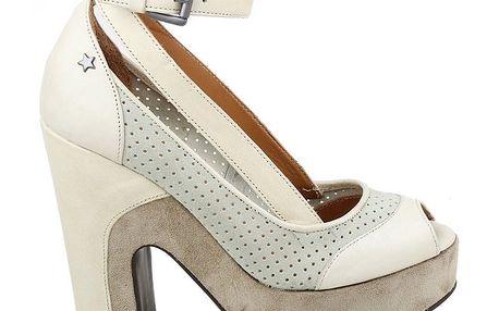 Dámské krémové perforované lodičky Cubanas Shoes
