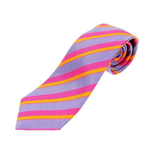 Pánská fialovo-růžová proužkovaná kravata Les Copains