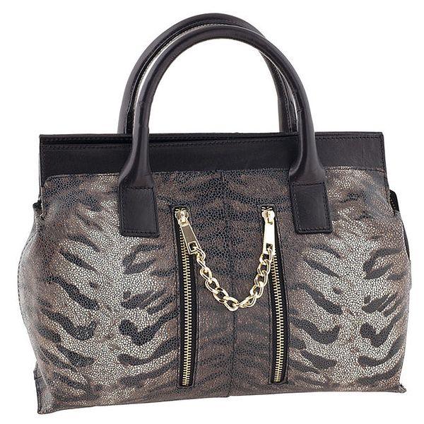 Dámská kožená kabelka se zvířecím vzorem a zipovými kapsami Tina Panicucci