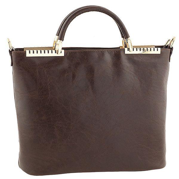 Dámská tmavě hnědá kožená kabelka s kovovými detaily Tina Panicucci