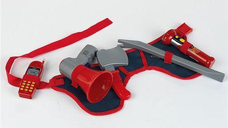 Hasičský pásek, vysílačka, megafon, záchranářská sekera, baterka a páčidlo