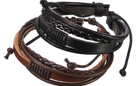 Koženkový náramek pro muže - 4 pásky