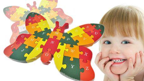 Dřevěná skládací hračka - motýl