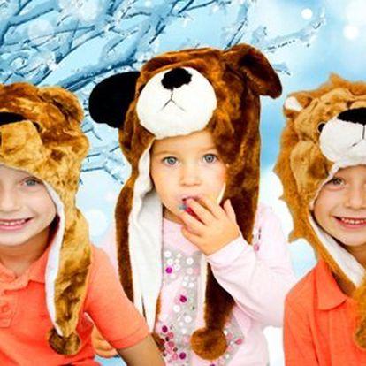 Zábavné zvířecí čepice - méďa, lev pejsek, husky nebo panda!