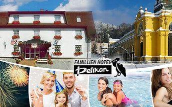 Silvestr v Mariánských lázních! - Pobytpro dva na 5 dní (4 noci) s polopenzí, diskotékou - oldies,ohňostrojem, bazénem a masáží v rodinném hotelu Pelikán.