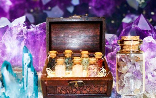Truhla plná vzácných MINERÁLŮ! Originální dárek s ametystem, křišťálem, olivínem a dalšími minerály!