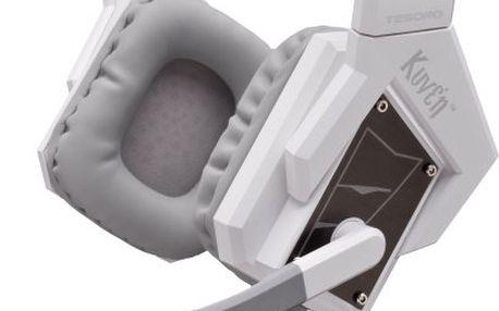 Špičkový hráčský headset s viruálním 7.1 zvukem TESORO KUVEN ANGEL, bílá