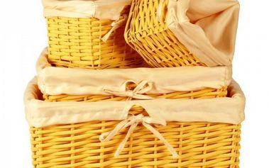 Proutěný košík, sada 4 ks, oranžová, Autronic