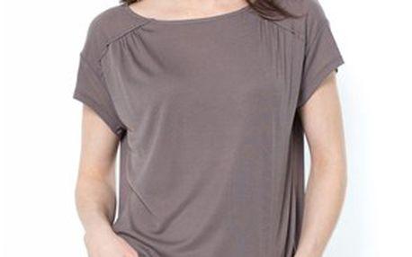 Pohodlné dámské tričko s drobným plisé vpředu