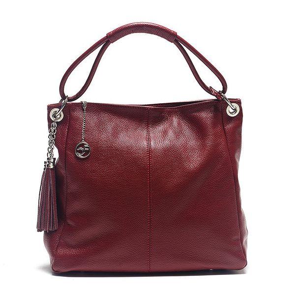Dámská červená kožená kabelka s ozdobnými střapci Carla Ferreri