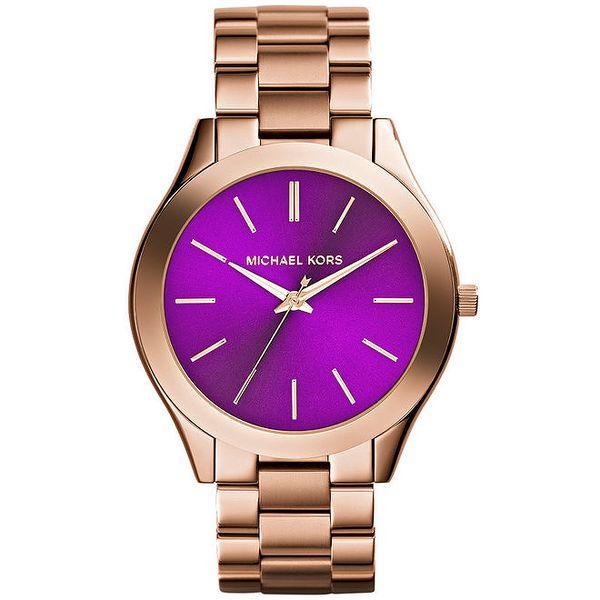 Dámské pozlacené hodinky s fialovým ciferníkem Michael Kors