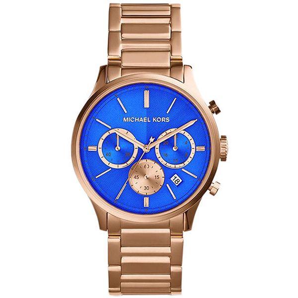 Dámské hodinky v tónu růžového zlata s modrým ciferníkem Michael Kors