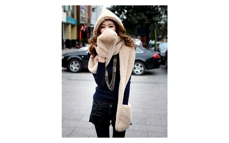 Dámská stylová 3 v 1 šála, čepice, rukavice