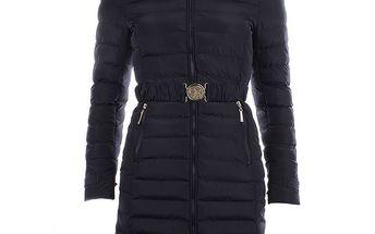 Dámský tmavě modrý kabát s kapucí a kožíškem B.style