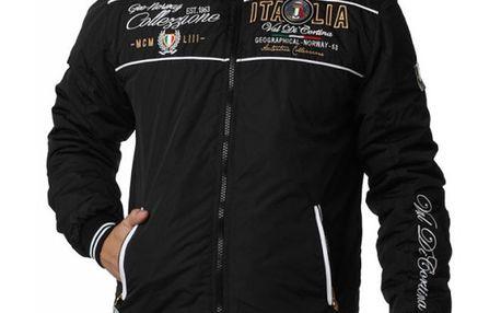 Pánská černá bunda s výšivkami Geographical Norway