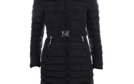 Dámský černý kabát s kapucí a kožíškem B.style