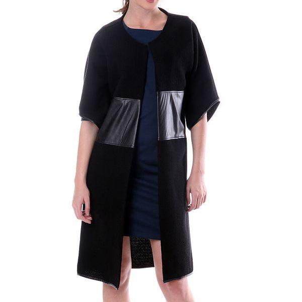 Dámský černý vlněný kabát s koženými prvky Lora Gene