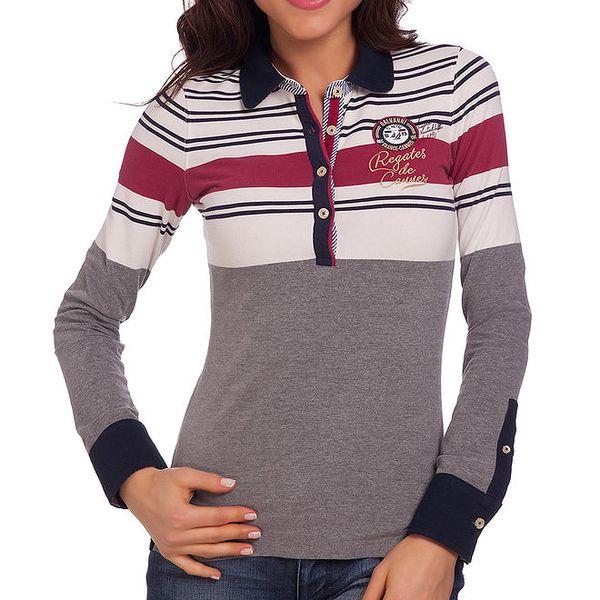 Dámské polo tričko s dlouhým rukávem a pruhy na ramenou Galvanni