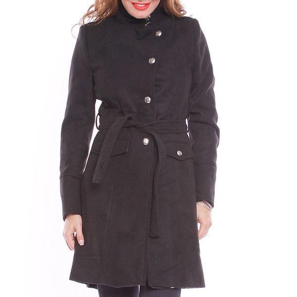Dámský černý zavazovací kabát s podšívkou Vera Ravenna