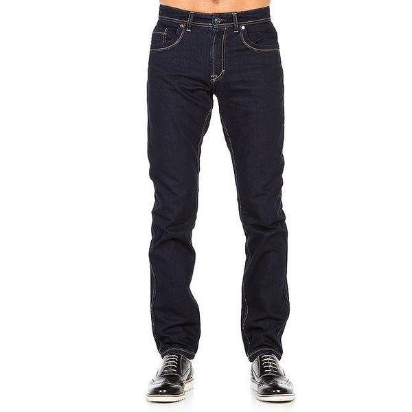 Pánské tmavě modré kalhoty s prošíváním Galvanni